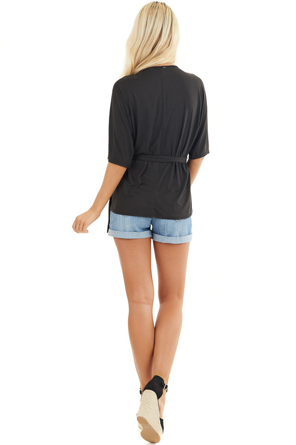 Black Short Sleeve Knit Wrap Top with Side Tie Detail back full body