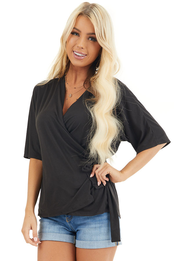 Black Short Sleeve Knit Wrap Top with Side Tie Detail front close up