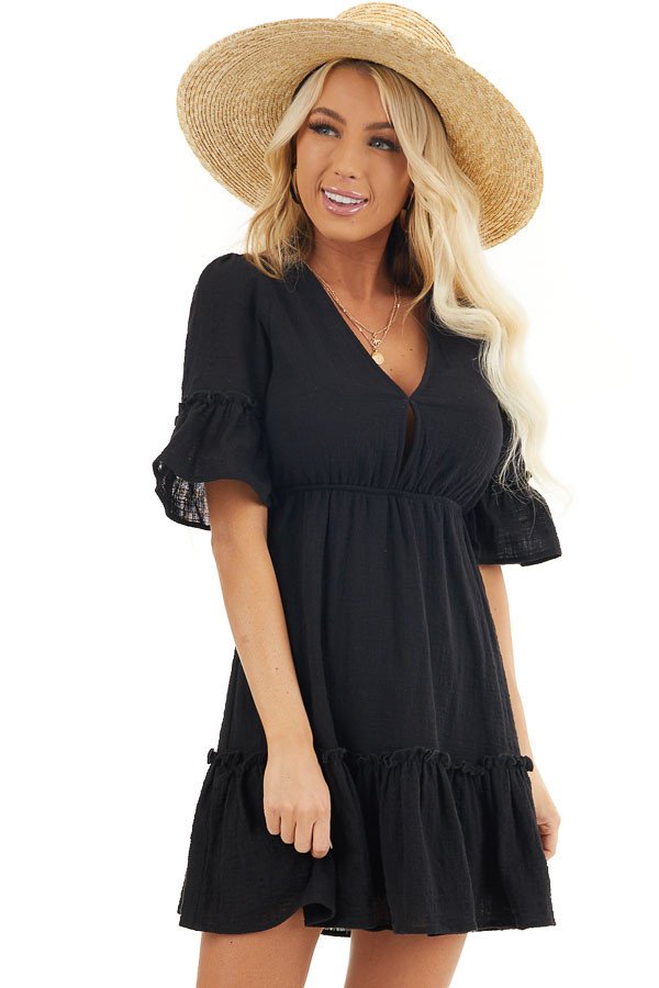 Black Open Back Mini Dress with Ruffled Half Sleeves front close up