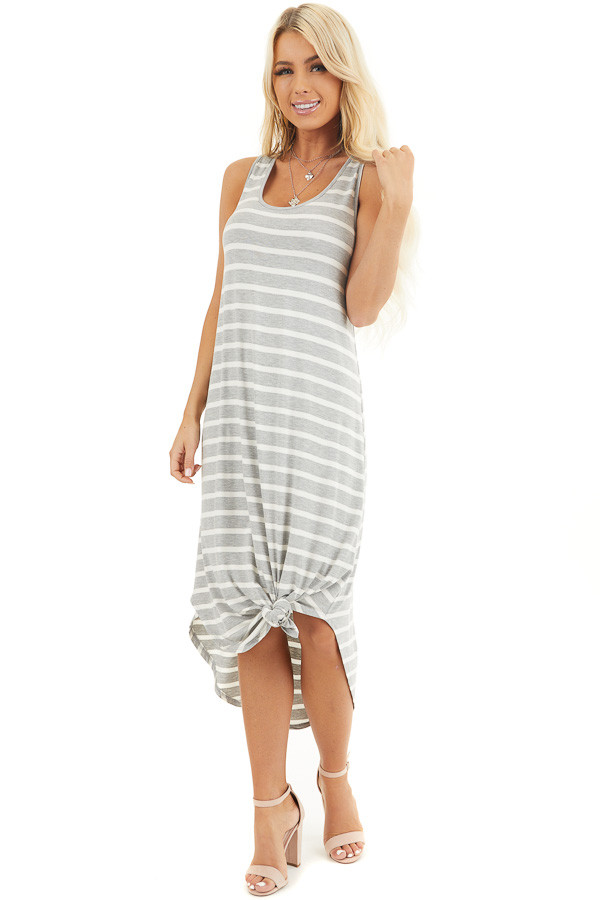 Heather Grey and Off White Striped Sleeveless Midi Dress front full body