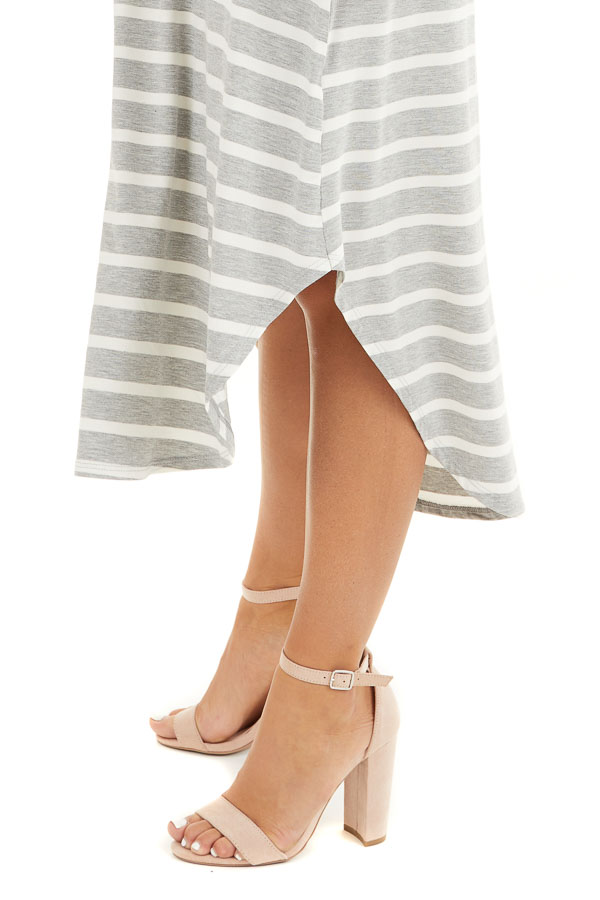 Heather Grey and Off White Striped Sleeveless Midi Dress detail
