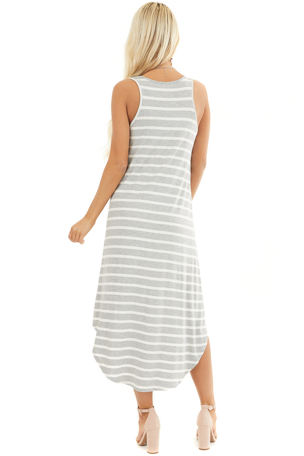 Heather Grey and Off White Striped Sleeveless Midi Dress back full body