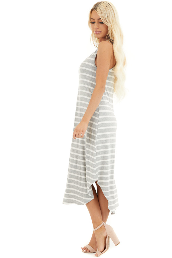 Heather Grey and Off White Striped Sleeveless Midi Dress side full body