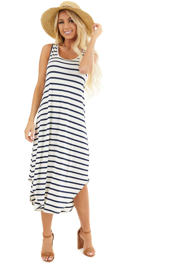Off White and Navy Blue Striped Sleeveless Midi Dress front full body