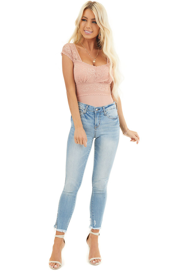 Salmon Top with Lace Details and Sheer Cap Sleeves front full body