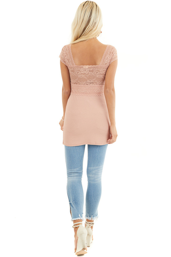 Salmon Top with Lace Details and Sheer Cap Sleeves back full body