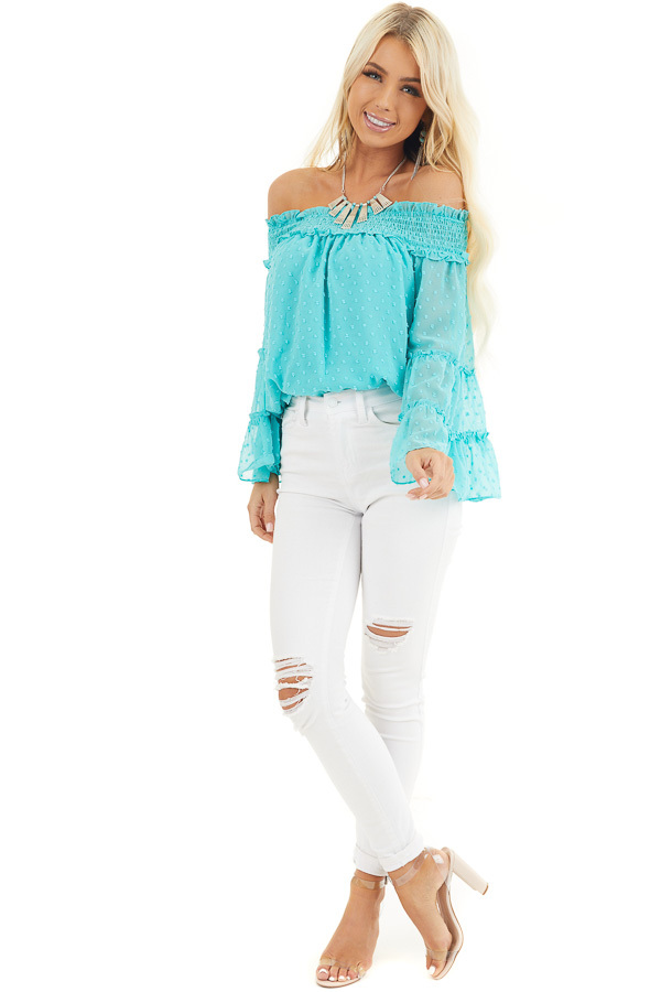 Aqua Off the Shoulder Top with 3/4 Tiered Bell Sleeves front full body