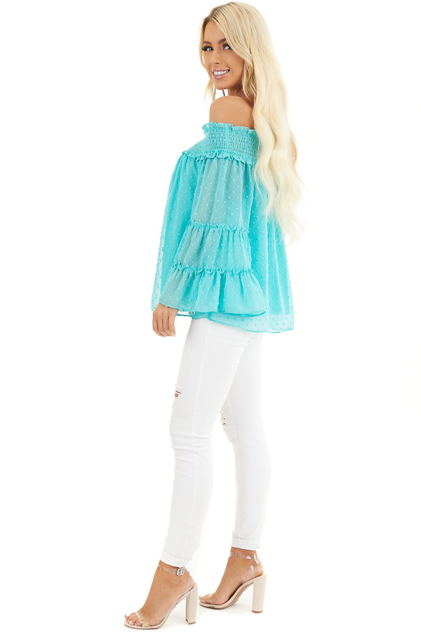 Aqua Off the Shoulder Top with 3/4 Tiered Bell Sleeves side full body