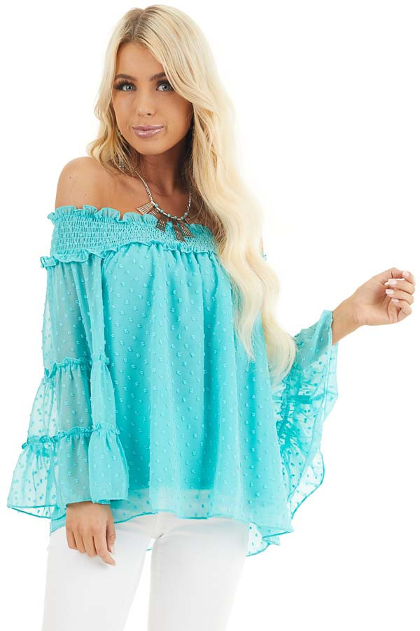 Aqua Off the Shoulder Top with 3/4 Tiered Bell Sleeves front close up