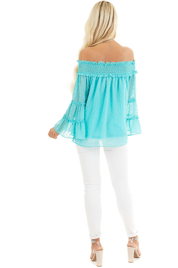 Aqua Off the Shoulder Top with 3/4 Tiered Bell Sleeves back full body