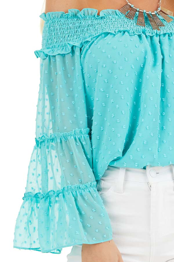 Aqua Off the Shoulder Top with 3/4 Tiered Bell Sleeves detail