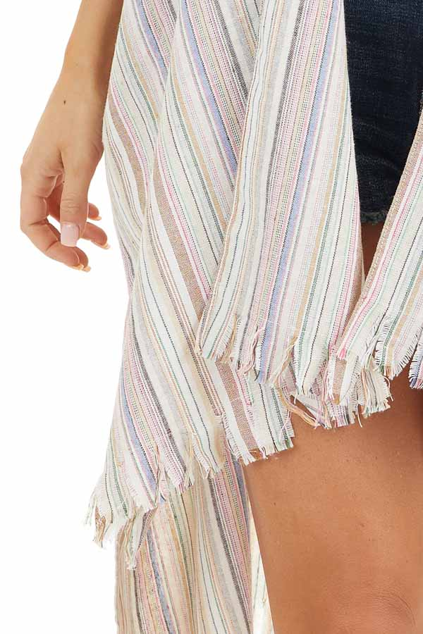 Ivory Multicolor Striped Linen Kimono with Fringe Hemline detail