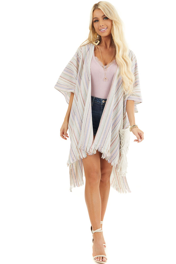 Ivory Multicolor Striped Linen Kimono with Fringe Hemline front full body