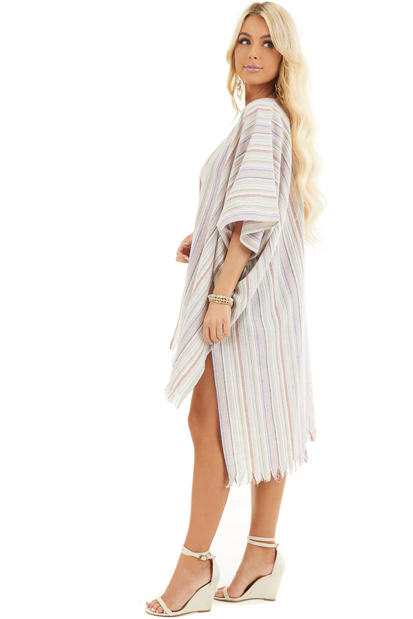 Ivory Multicolor Striped Linen Kimono with Fringe Hemline side full body