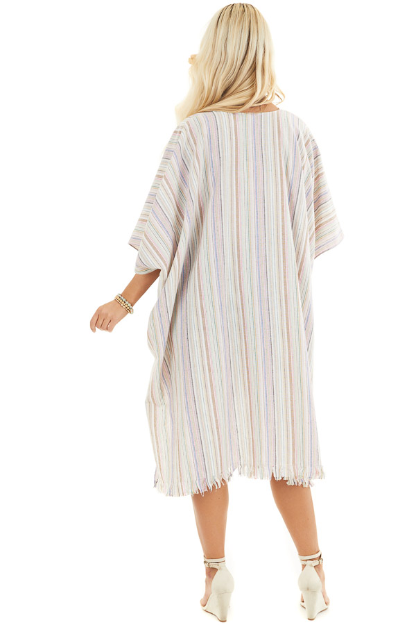 Ivory Multicolor Striped Linen Kimono with Fringe Hemline back full body