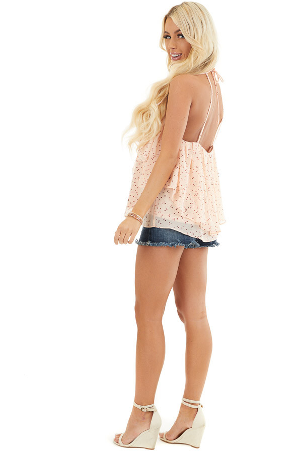 Peach and Burgundy Dotted Tank Top with Ruffle Details side full body