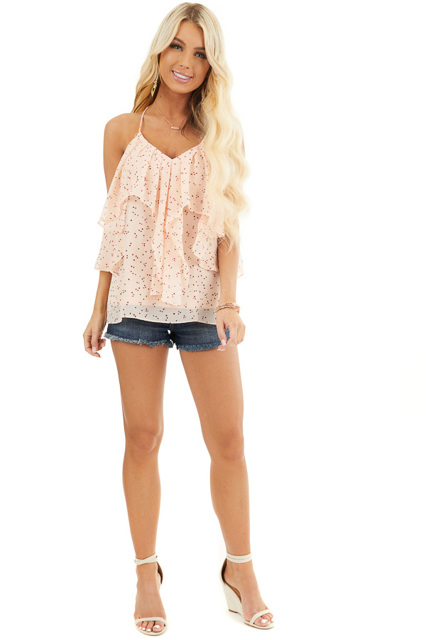 Peach and Burgundy Dotted Tank Top with Ruffle Details front full body