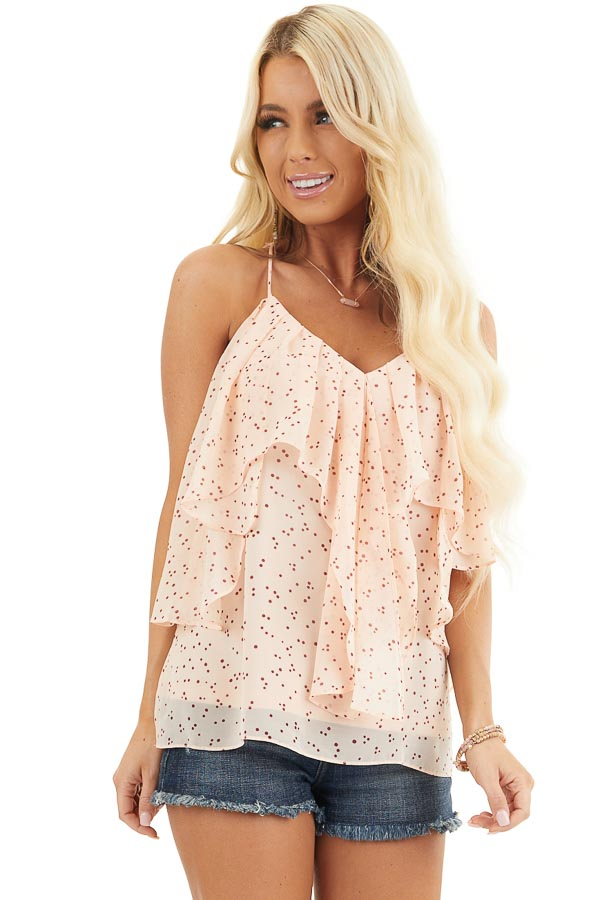 Peach and Burgundy Dotted Tank Top with Ruffle Details front close up
