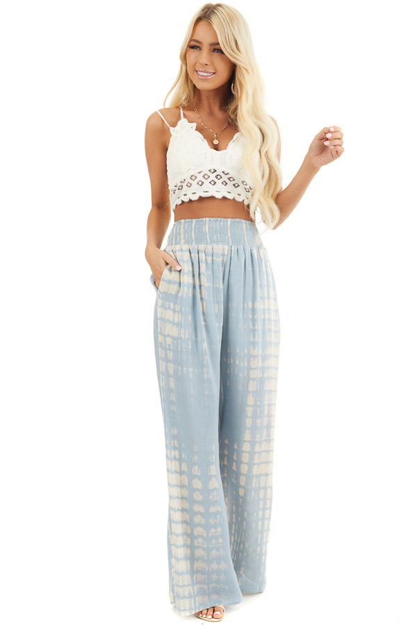 Slate Blue Tie Dye Wide Leg Pants with Smocked Waistband front full body