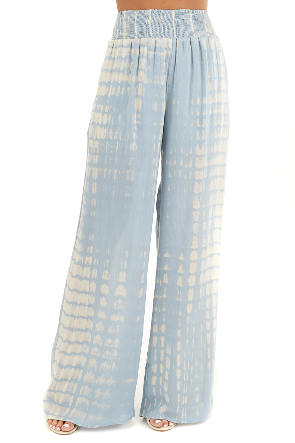 Slate Blue Tie Dye Wide Leg Pants with Smocked Waistband front view