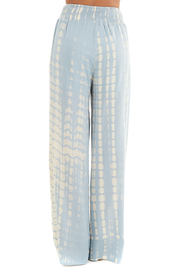 Slate Blue Tie Dye Wide Leg Pants with Smocked Waistband back view