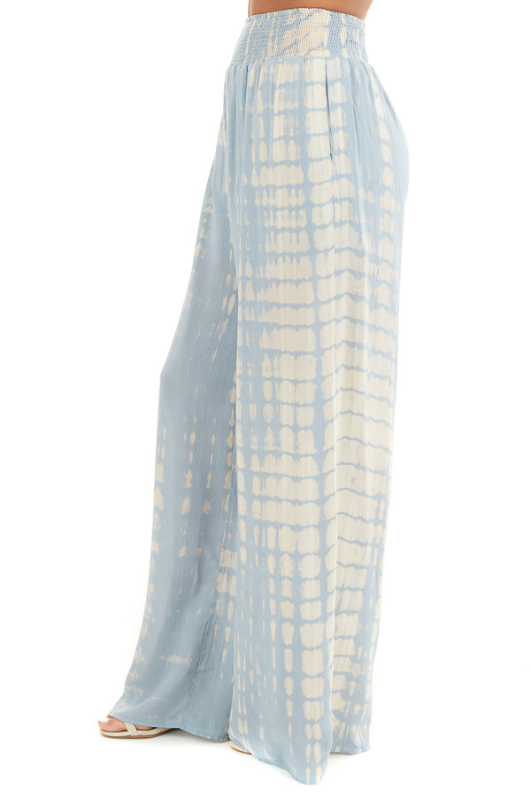 Slate Blue Tie Dye Wide Leg Pants with Smocked Waistband side view
