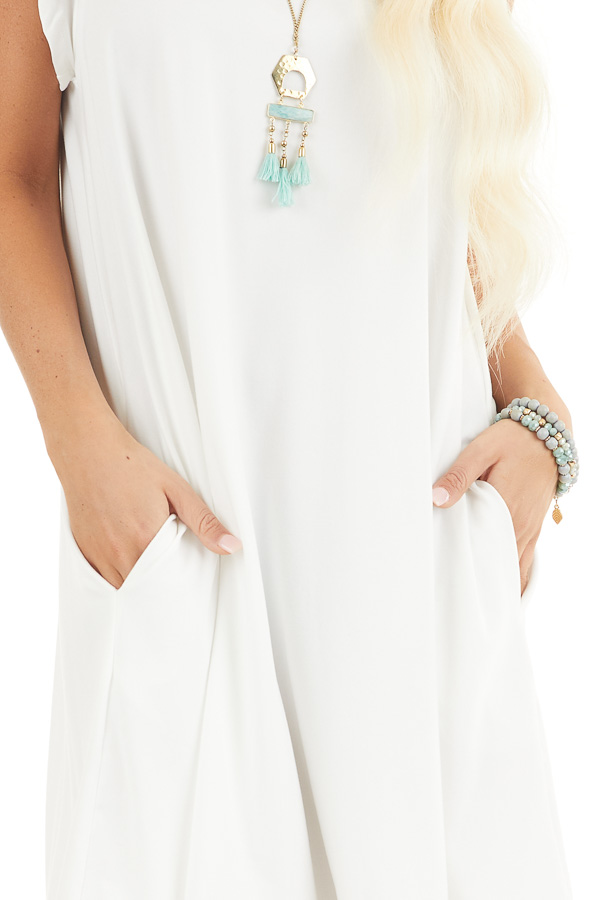 White Short Jersey Knit Dress with Short Ruffle Sleeves detail