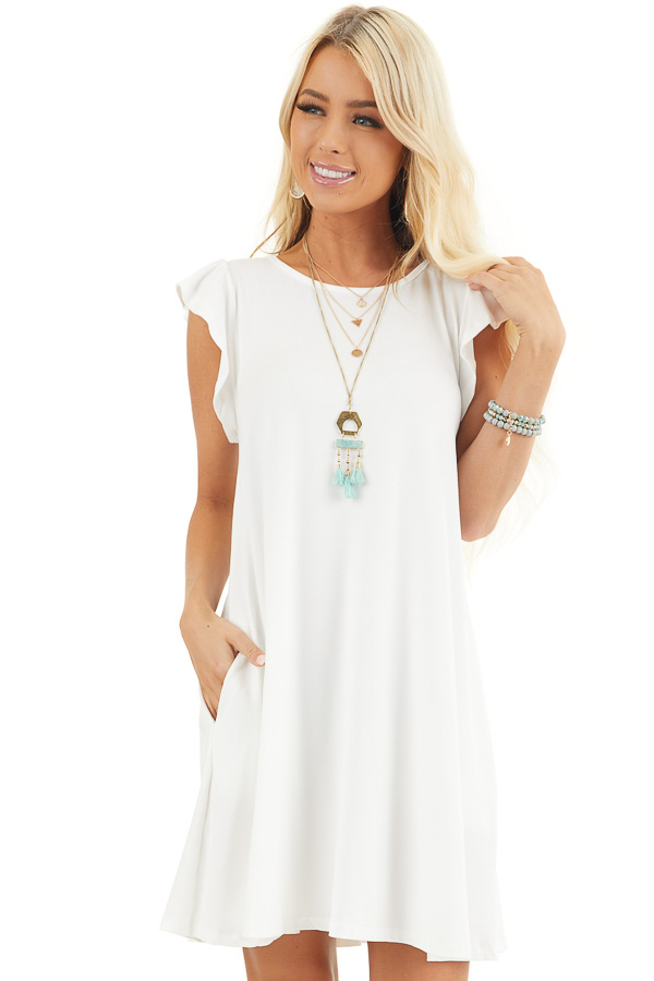 White Short Jersey Knit Dress with Short Ruffle Sleeves front close up
