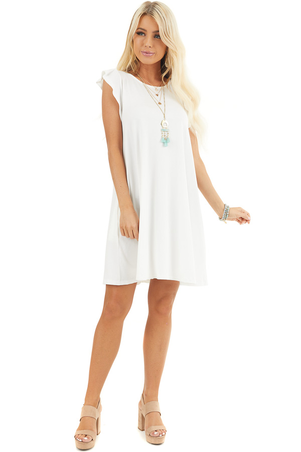 White Short Jersey Knit Dress with Short Ruffle Sleeves front full body