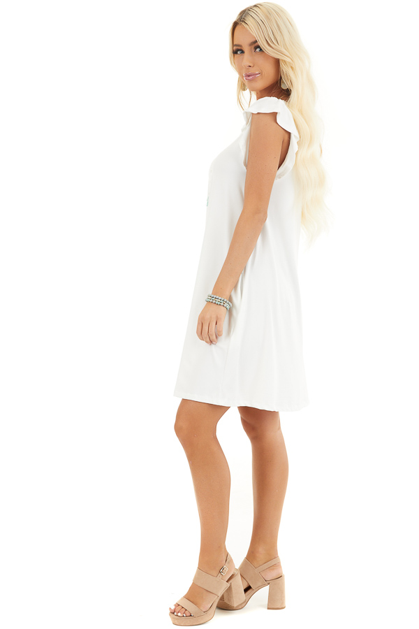White Short Jersey Knit Dress with Short Ruffle Sleeves side full body