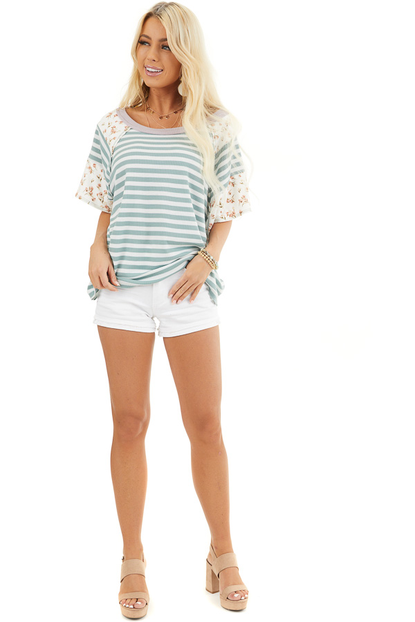 Sage and Ivory Striped Knit Top with Floral Print Contrast front full body