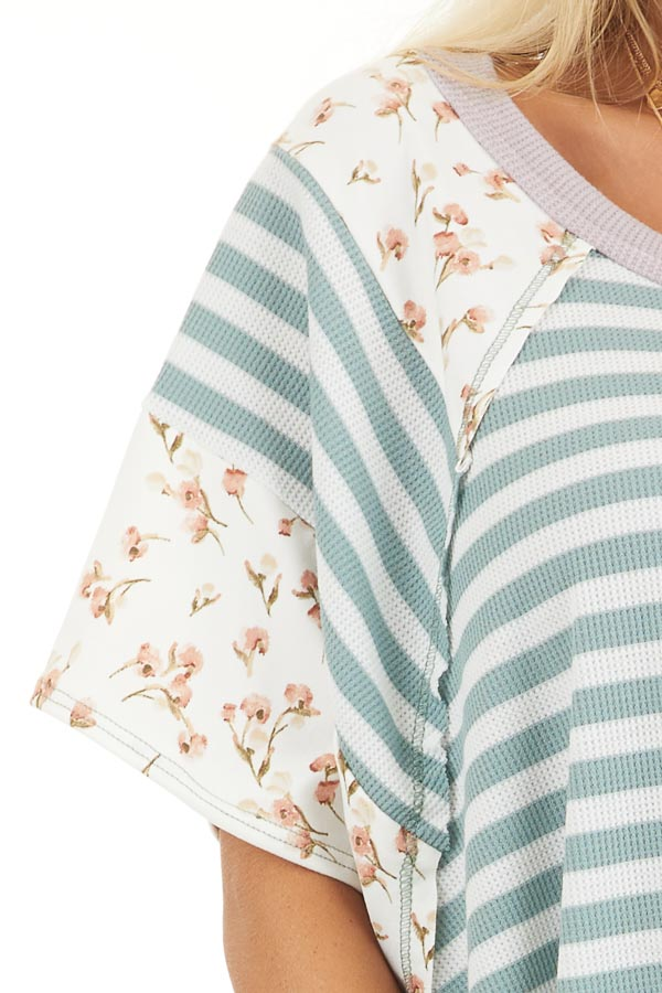 Sage and Ivory Striped Knit Top with Floral Print Contrast detail