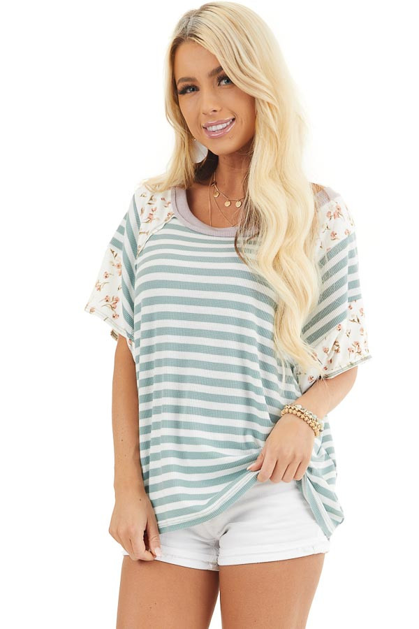 Sage and Ivory Striped Knit Top with Floral Print Contrast front close up