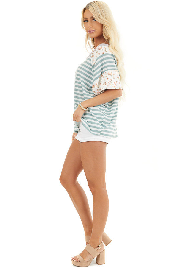 Sage and Ivory Striped Knit Top with Floral Print Contrast side full body