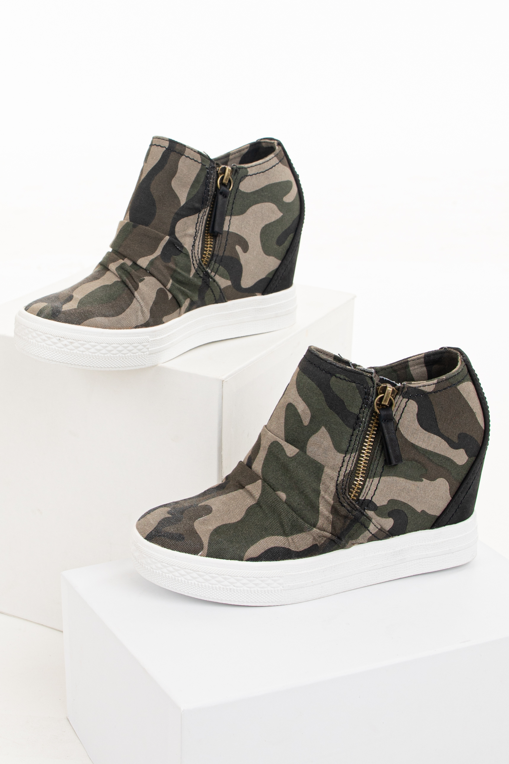 Hunter Green Camo Print Sneaker Wedge with Gathered Detail