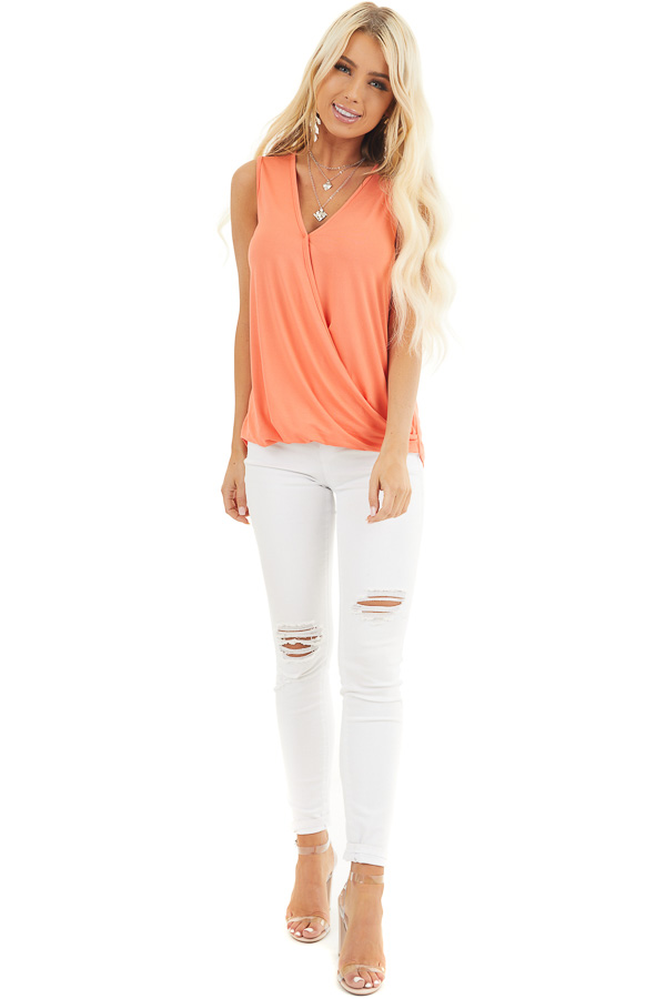 Coral Surplice Sleeveless Knit Top with V Neckline front full body