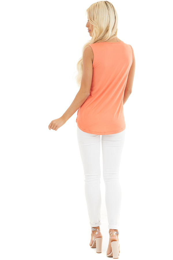 Coral Surplice Sleeveless Knit Top with V Neckline back full body