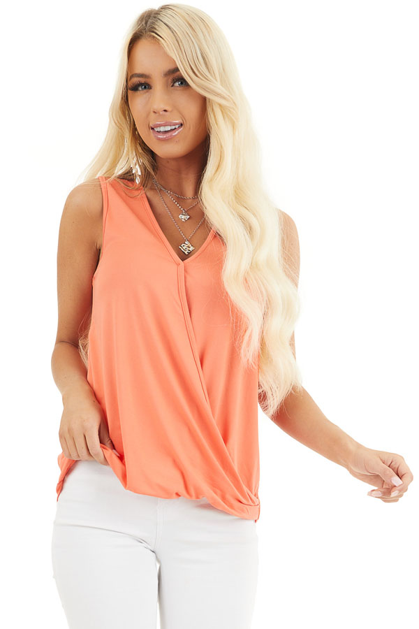 Coral Surplice Sleeveless Knit Top with V Neckline front close up