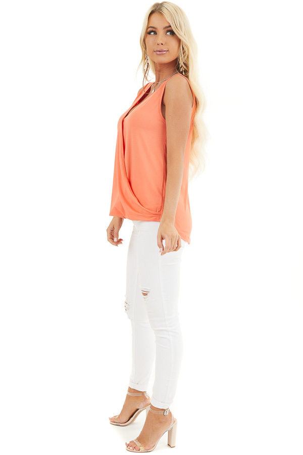 Coral Surplice Sleeveless Knit Top with V Neckline side full body