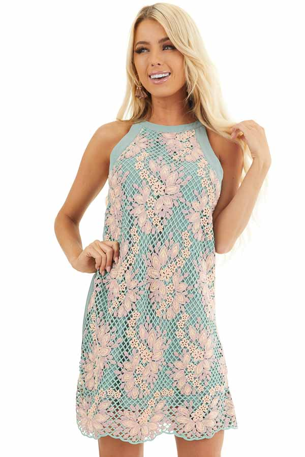 Sage and Mauve High Neck Dress with Floral Embroidery front close up