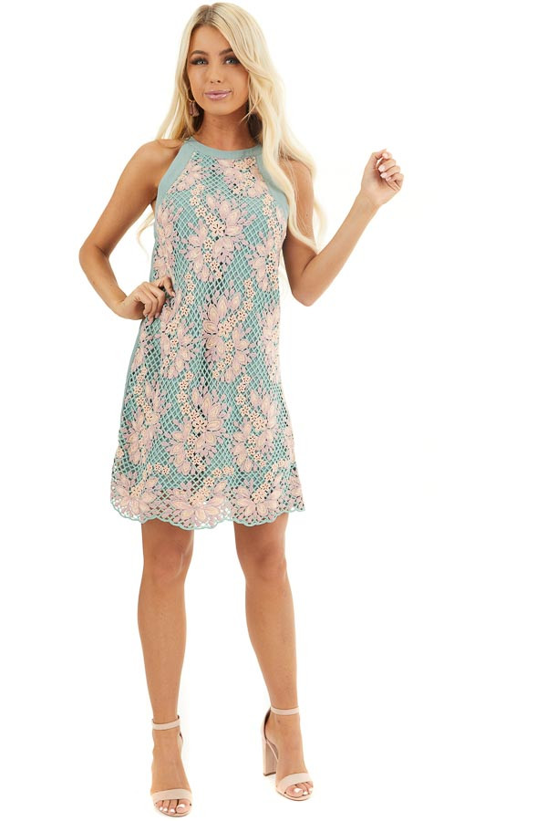 Sage and Mauve High Neck Dress with Floral Embroidery front full body