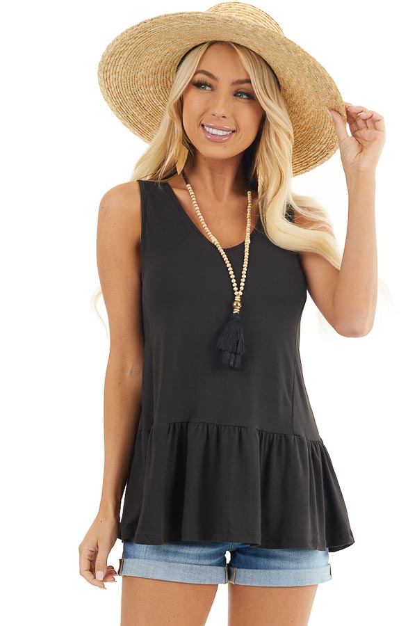 Black Sleeveless Knit Peplum Top with V Neckline front close up