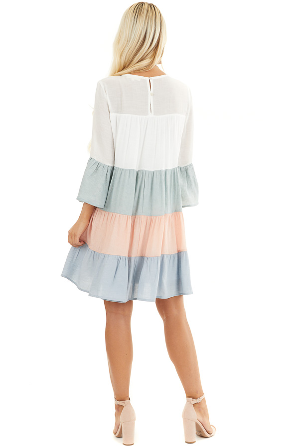 Multicolor Colorblock Short Dress with Long Bell Sleeves back full body