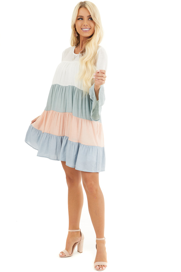 Multicolor Colorblock Short Dress with Long Bell Sleeves front full body