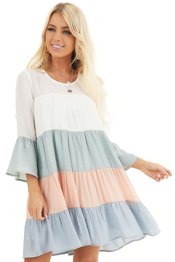 Multicolor Colorblock Short Dress with Long Bell Sleeves front close up