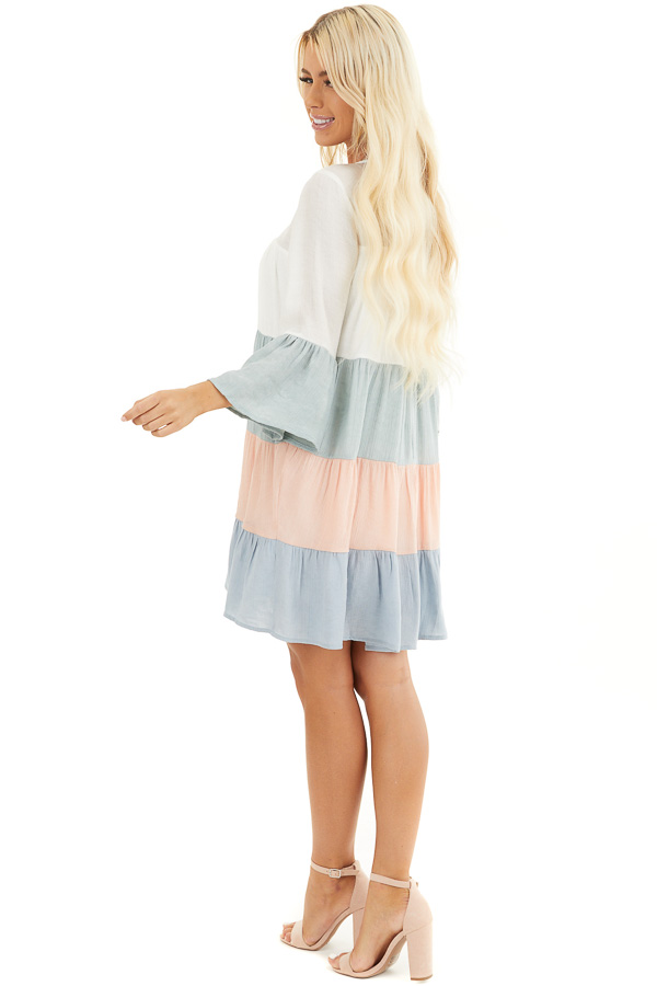 Multicolor Colorblock Short Dress with Long Bell Sleeves side full body
