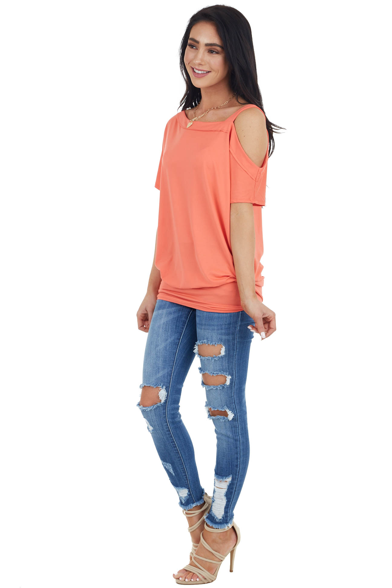 Bright Coral Knit Tunic Top with Single Cold Shoulder