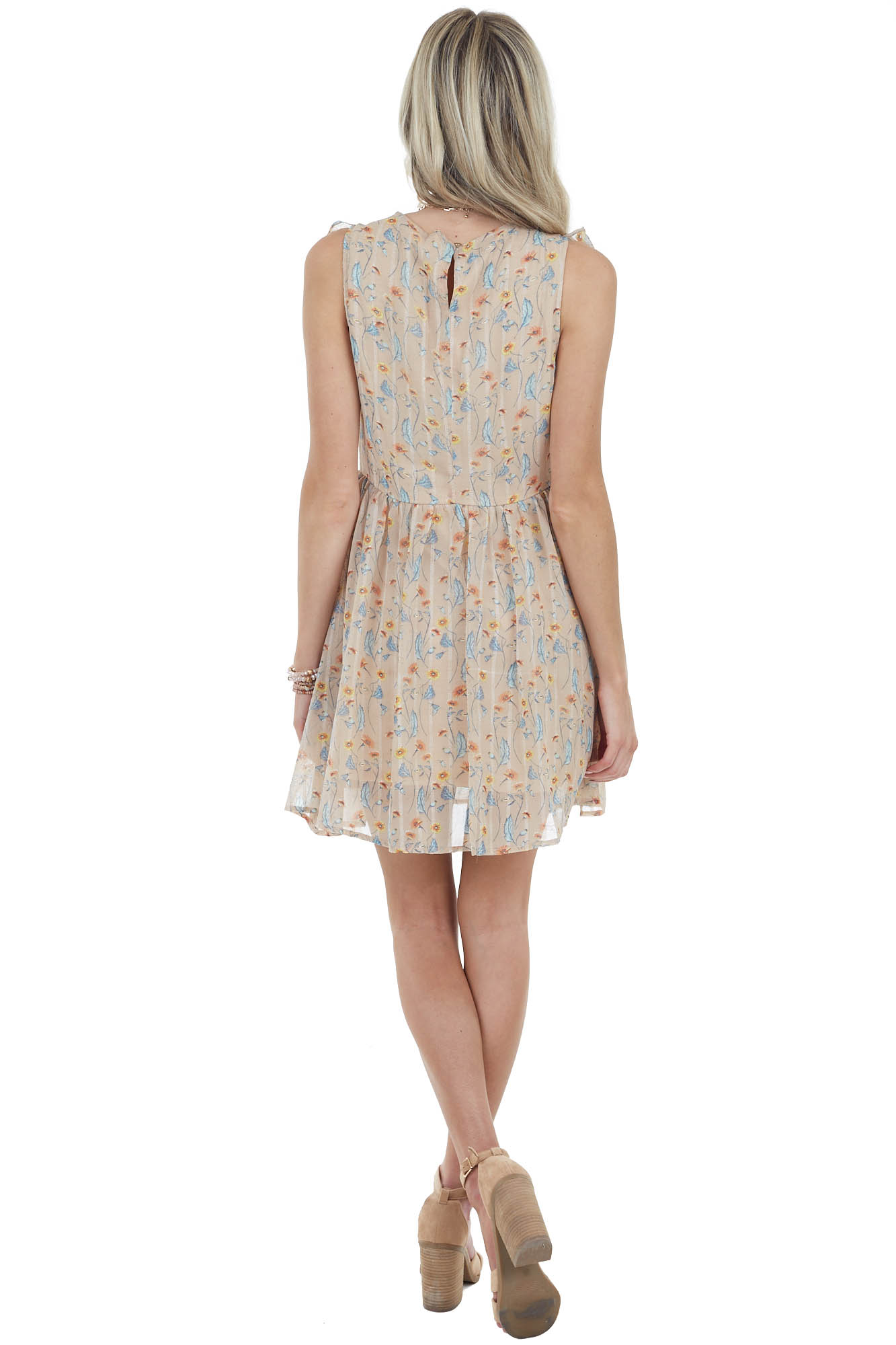 Beige Floral Print Surplice Dress with Ruffle Details