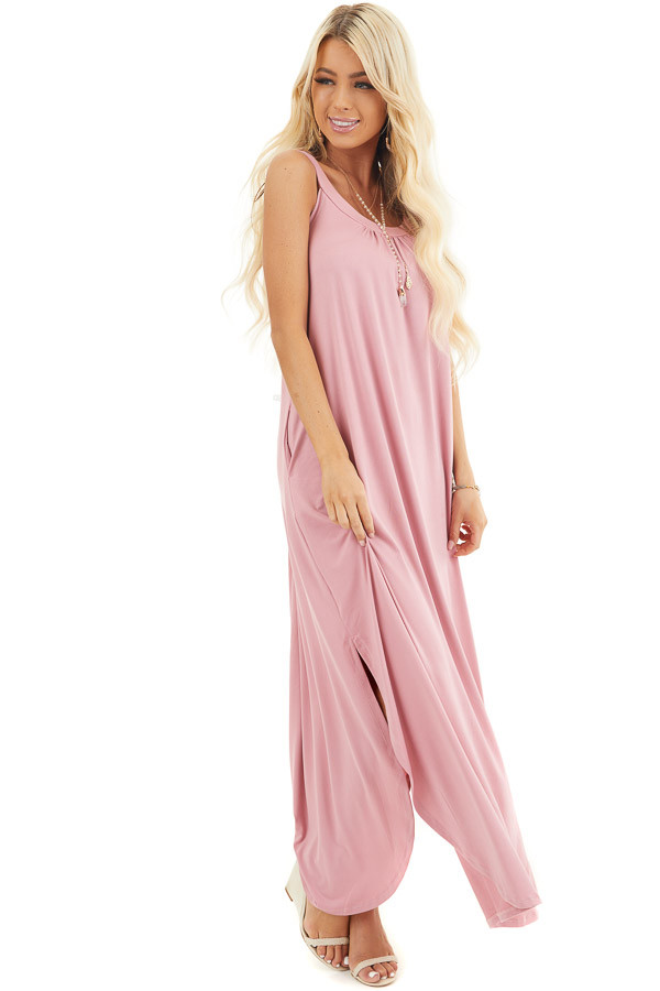Dusty Blush Sleeveless Jersey Maxi Dress with Side Slits front full body