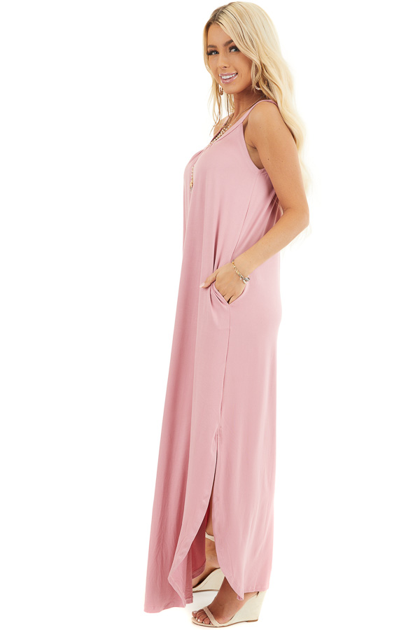 Dusty Blush Sleeveless Jersey Maxi Dress with Side Slits side full body